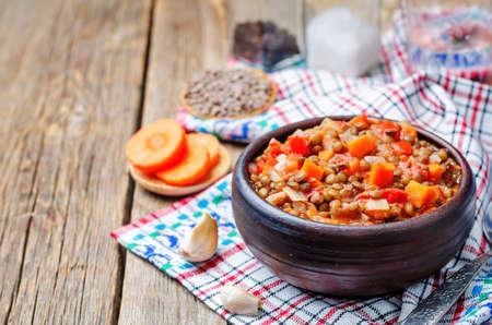 green lentil: Vegan green lentil tomatoes stew. toning. selective focus Stock Photo