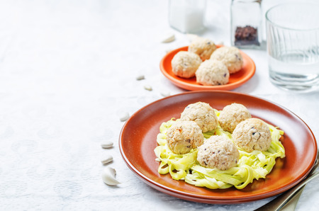 cooked pepper ball: white beans meatballs with zucchini noodles. toning. selective focus
