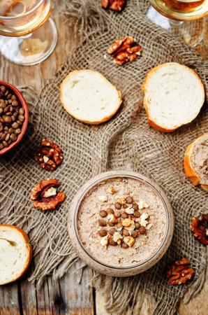 green lentil: Mushrooms walnuts green lentil pate. toning. selective focus