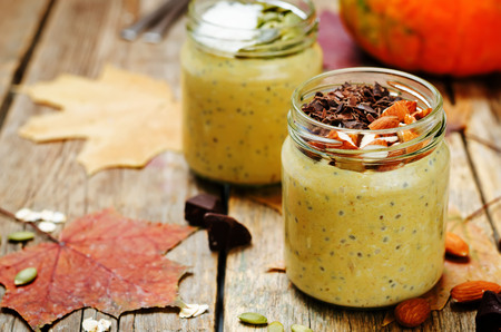 overnight: pumpkin chia seeds overnight oats. toning. selective focus Stock Photo