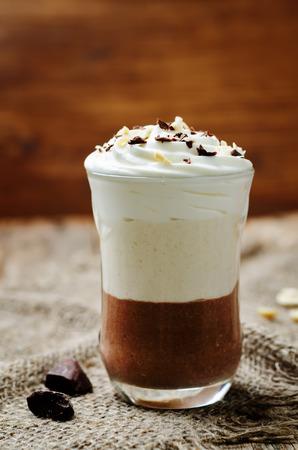Peanut butter chocolate mousse parfait. toning. selective focus