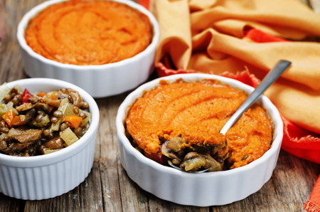 green lentil: vegan green lentil mushroom sweet potato Shepherds pie. toning. selective focus