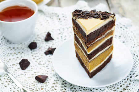 Pumpkin and chocolate layer cake with salted caramel cream cheese frosting. toning. selective focus