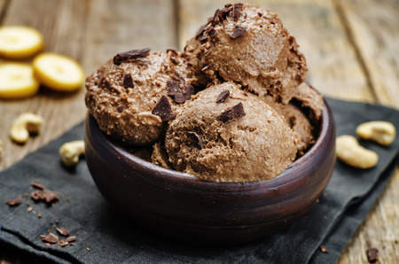 vegan chocolate banana cashew ice cream. toning. selective focus Stock fotó