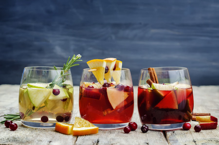 white winter: List of sangria with red, pink and white wine. Toning. selective focus Stock Photo