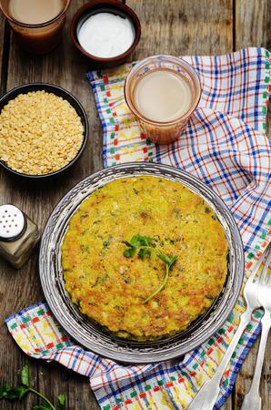 Spinach lentil pancakes. Palak Moong Dal Cheela. toning. selective focus