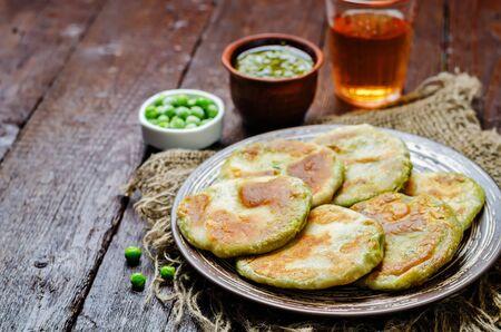 Spicy green peas Flatbread. Bengali Matar Kachori. Indian cuisine. toning. selective focus