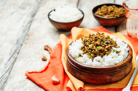 Spicy Indian minced meat with rice on a wood background. toning. selective focus Stock Photo