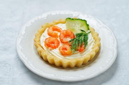 Shrimp cream cheese mousse dill cucumber tartlet. toning. selective focus Stock fotó
