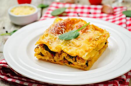 Chicken sweet potato spinach lasagna. toning. selective focus Imagens