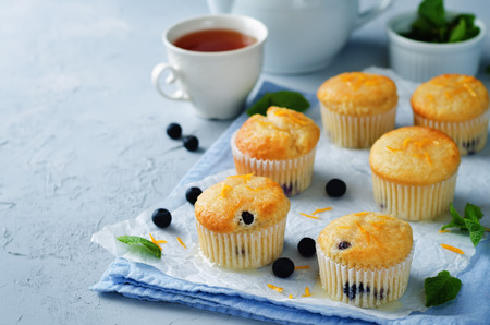 blueberry muffin: Blueberry muffins with lemon glaze. toning. selective focus