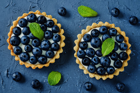 Blueberry tartlets. toning. selective focus