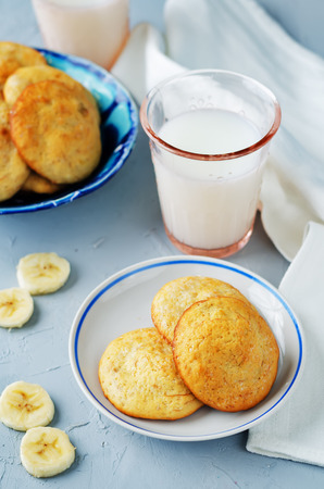 biscuits: Banana cookies on a grey stone background. toning. selective focus Stock Photo
