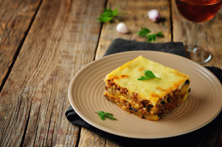 Potato minced meat eggplant casserole. Moussaka. Toning. Selective focus