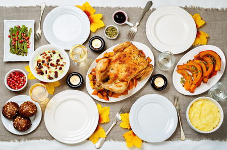 Autumn Thanksgiving main dish table setting. toning. selective focus
