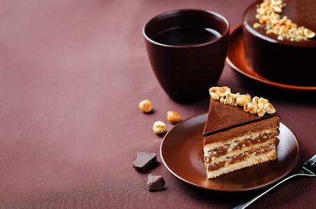 Merengue hazelnut chocolate cake. toning. selective focus Stock Photo - 87845901