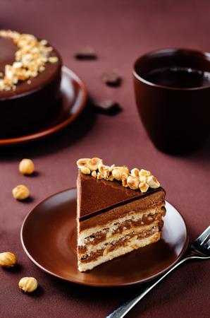 Merengue hazelnut chocolate cake. toning. selective focus Stock Photo