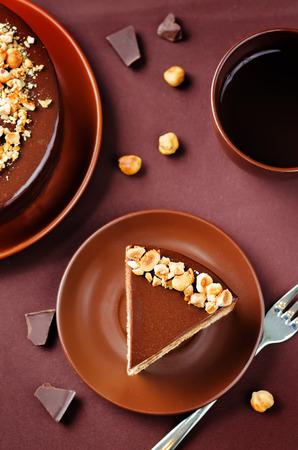 Merengue hazelnut chocolate cake. toning. selective focus Stock Photo - 87902381