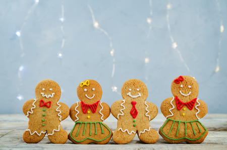 Gingerbread cookies on a light grey background. copy space. toning. selective focus