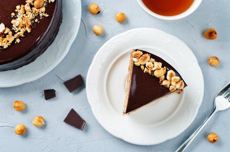 Merengue hazelnut chocolate cake. toning. selective focus Stock Photo - 88145911