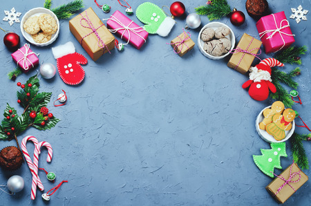 Christmas background with gifts, cookies, Christmas decoration. toning. selective focus