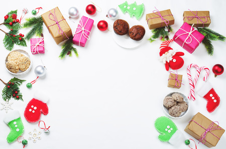 Christmas background with gifts, cookies, Christmas decoration. toning. selective focus Stock Photo - 90153524