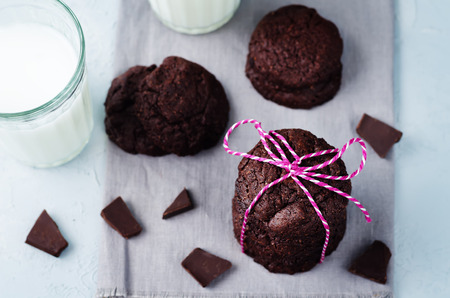 Chocolate brownie cookies on a stone background. toning. selective focus Stock Photo