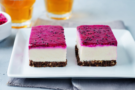Raw vegan cashews pataya cheesecake on a stone background. toning. selective focus Stock Photo