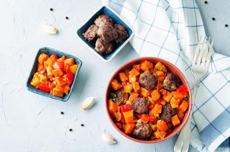 Pumpkin sweet potato Bell pepper stew with meatballs. toning. selective focus Stock Photo - 93053036