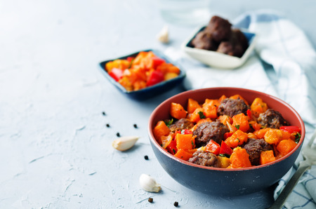Pumpkin sweet potato Bell pepper stew with meatballs. toning. selective focus Zdjęcie Seryjne
