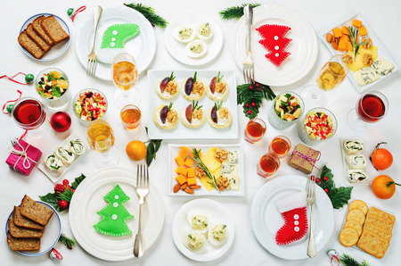 Christmas appetizers celebration table setting. toning. selective focus