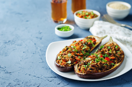 Minced meat quinoa vegetables stuffed eggplants on a stone background. toning. selective focus