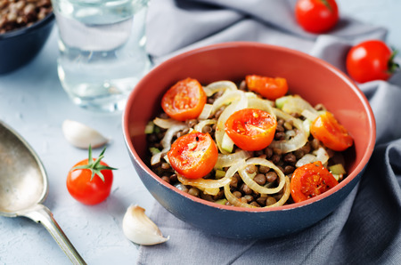 Green Lentil roasted onion and tomato salad on a stone background. toning. selective focus