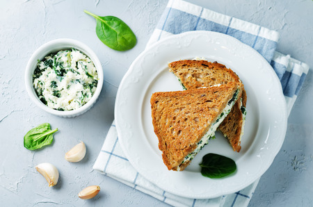 Ricotta spinach rye sandwich on a stone background. toning. selective focus