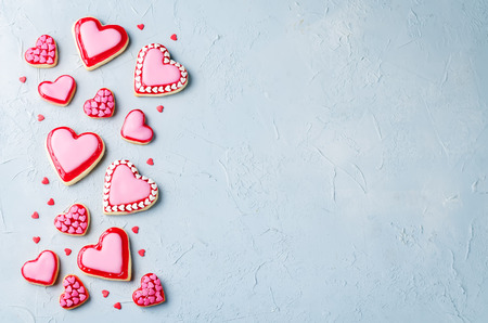 Heart shape sugar cookies for Valentine's Day on a gray background. toning. selective focus