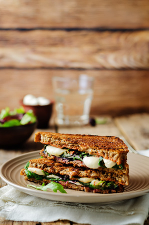 Fresh green mozzarella grilled rye sandwich on a dark woody background. toning. selective focus