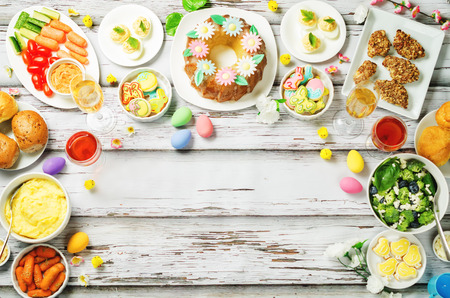 Spring Easter main dish table setting. toning. selective focus