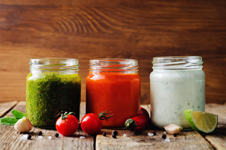 Variation of sauces for meat, poultry or fish. Tomato Chili, Cilantro Parsley Garlic Chili and Greek yogurt Lime Cilantro sauces.
