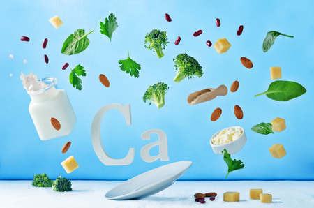 Flying foods rich in calcium. Healthy eating 스톡 콘텐츠 - 103775992