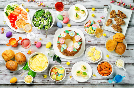 Spring Easter main dish table setting. toning. selective focus Stock Photo