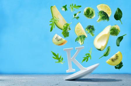 Flying foods rich in vitamin k. Green vegetables. Healthy eating