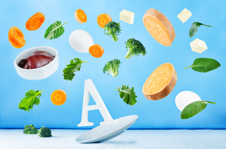 Flying foods rich in vitamin a. Healthy eating 版權商用圖片