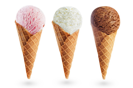 Strawberry, Vanilla and chocolate ice creams isolated. toning. selective focus