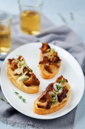 Fried chantarelle onion toasts on a stone background. toning. selective focus Stock Photo