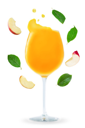 Apple Juice with flying Apple slices and leaves isolated