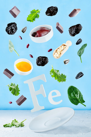 Flying foods rich in iron. Healthy eating Banco de Imagens