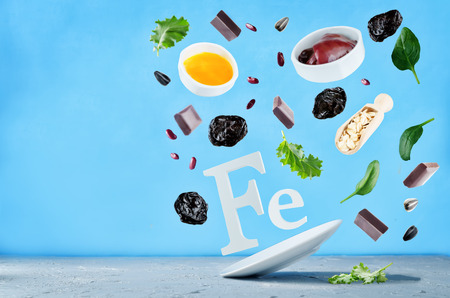Flying foods rich in iron. Healthy eating Stock Photo