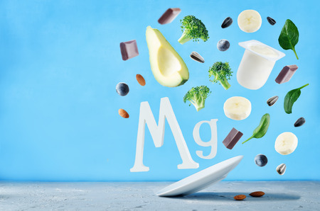 Flying foods rich in magnesium. Healthy eating Stock Photo