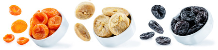 Trio of dried fruits isolated. toning Stock Photo