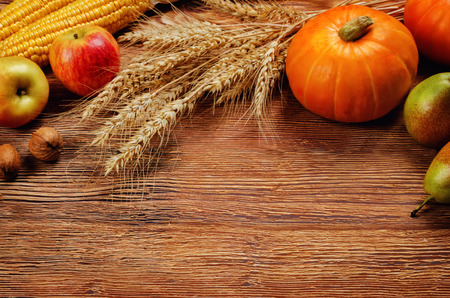 Autumn vegetable and fruit wood background. toning. selective focus Stock Photo